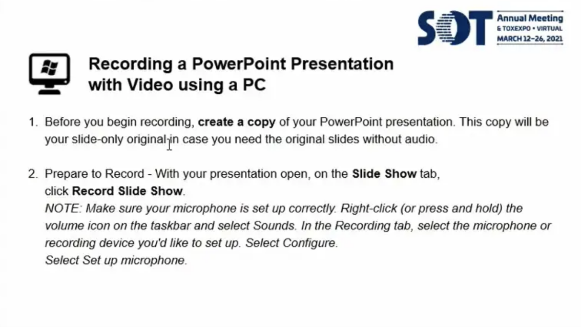 PowerPoint Recording Instructions for PC Users