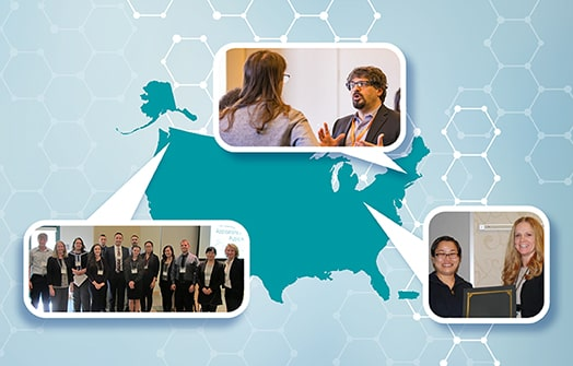 An outline of the US is filled turquoise and sits on a background that is a gradient of white and light blue with white hexagon symbols scattered throughout. Coming off the map are three speech bubbles. Each bubble contains an image. One depicts a man and woman talking. Another shows a large group of people posed for a formal picture. The final image shows two women posing with an award plaque.