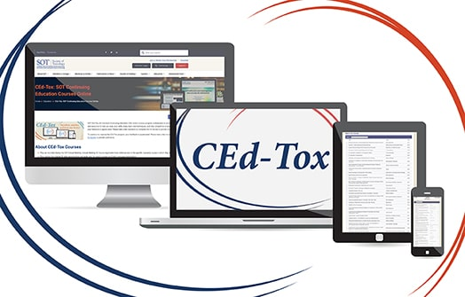 On a white background are four electronic device screens that slightly overlap each other. The screen on the far left is a computer monitor screen that is displaying the SOT CEd-Tox web page. Slightly in front and to the right of this screen is a laptop displaying the CEd-Tox logo which is the phrase CEd-Tox in italic text surrounded by curling lines in orange and blue. Slightly in front and to the right of the laptop is a vertical tablet screen that is displaying a list of CE courses. Slightly in front and to the right of that screen is a vertical phone screen also displaying a list of CE courses.